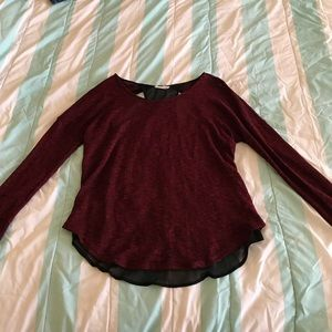 Deep red thin sweater top
